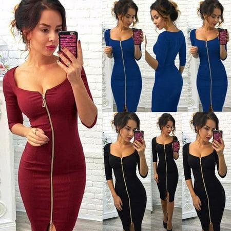 Fashion Womens Zipper V Neck Long Sleeve Sweater Bodycon Party Mini Jumper Dress