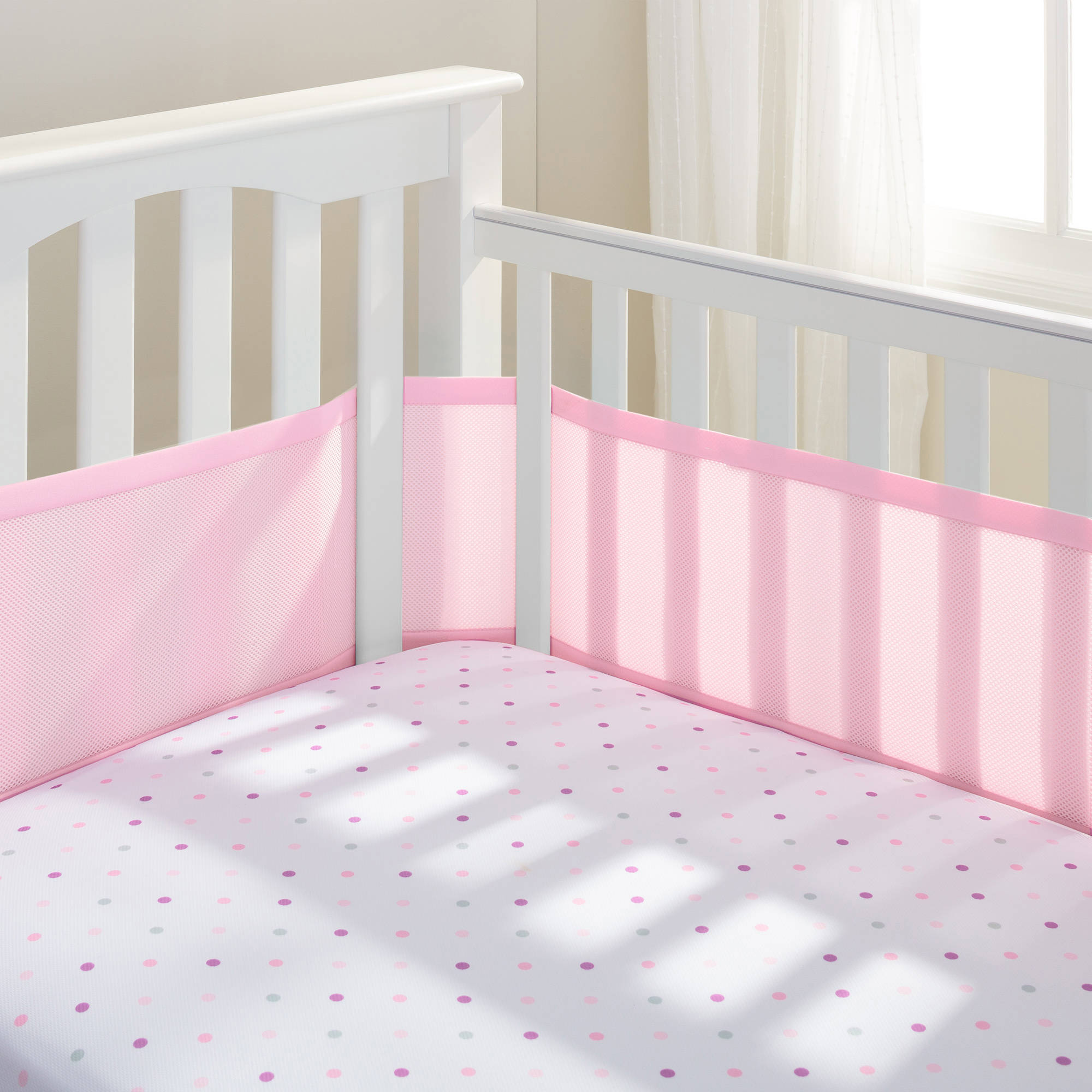BreathableBaby - Breathable Crib Liner, Fits All Cribs, Pink