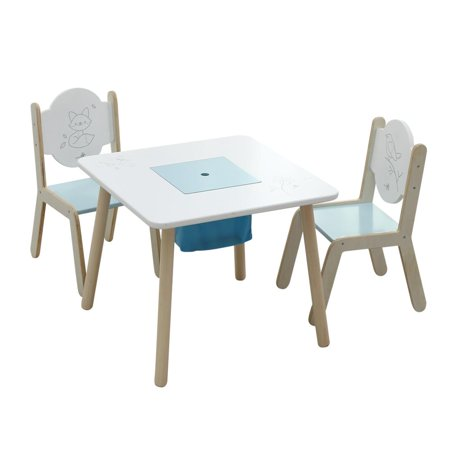 Labebe Wooden Activity Table Chair Set Bird Printed White Toddler With Bin For 1