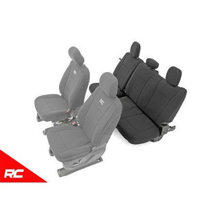 Rough Country Neoprene Seat Covers Rear Black (fits) 2015-2019 F150 ( F-150 ) XL / XLT Water Resistant Rear 91017 ()