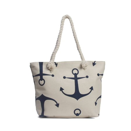 Anchors Wide Beach Tote Bag - White - image 2 de 2