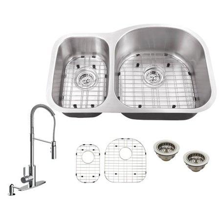 Soleil 31.5 L x 20.5 W Double Bowl Undermount Kitchen Sink with Faucet