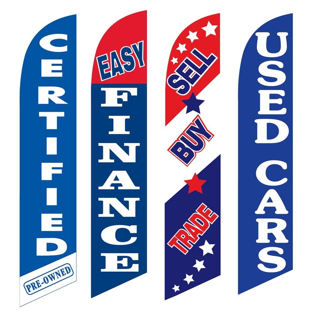 4 Advertising Swooper Flags Pre Owned Easy Finance Sell Buy Trade Used Cars