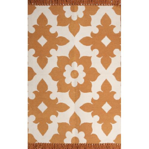 Tuft Loom Fleur De Lis Marigold Cream Indoor Outdoor Area Rug
