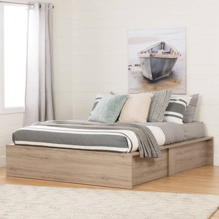 Step One Ottoman Storage Bed Queen Rustic Oak - South Shore