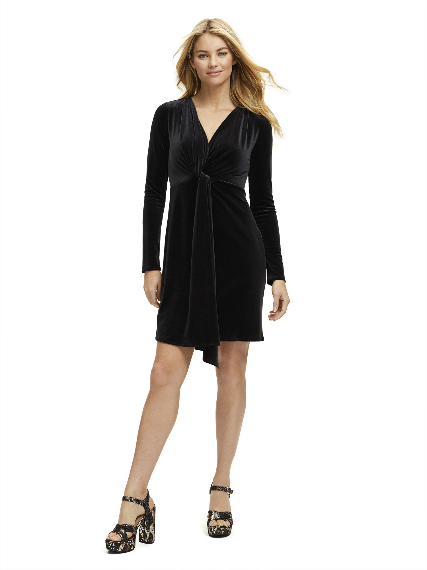 Scoop Women's Soft Stretch Velvet Drape Dress by Scoop