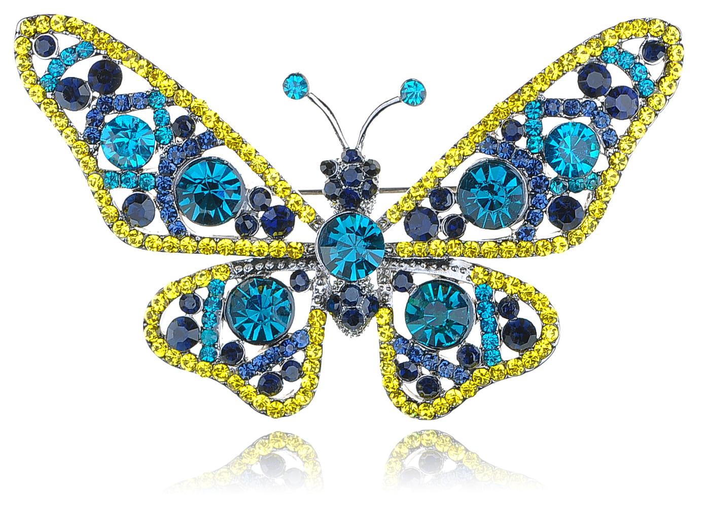 Capri Blue Light Topaz Crystal Rhinestone Silver Tone Butterfly Bug Pin Brooch by