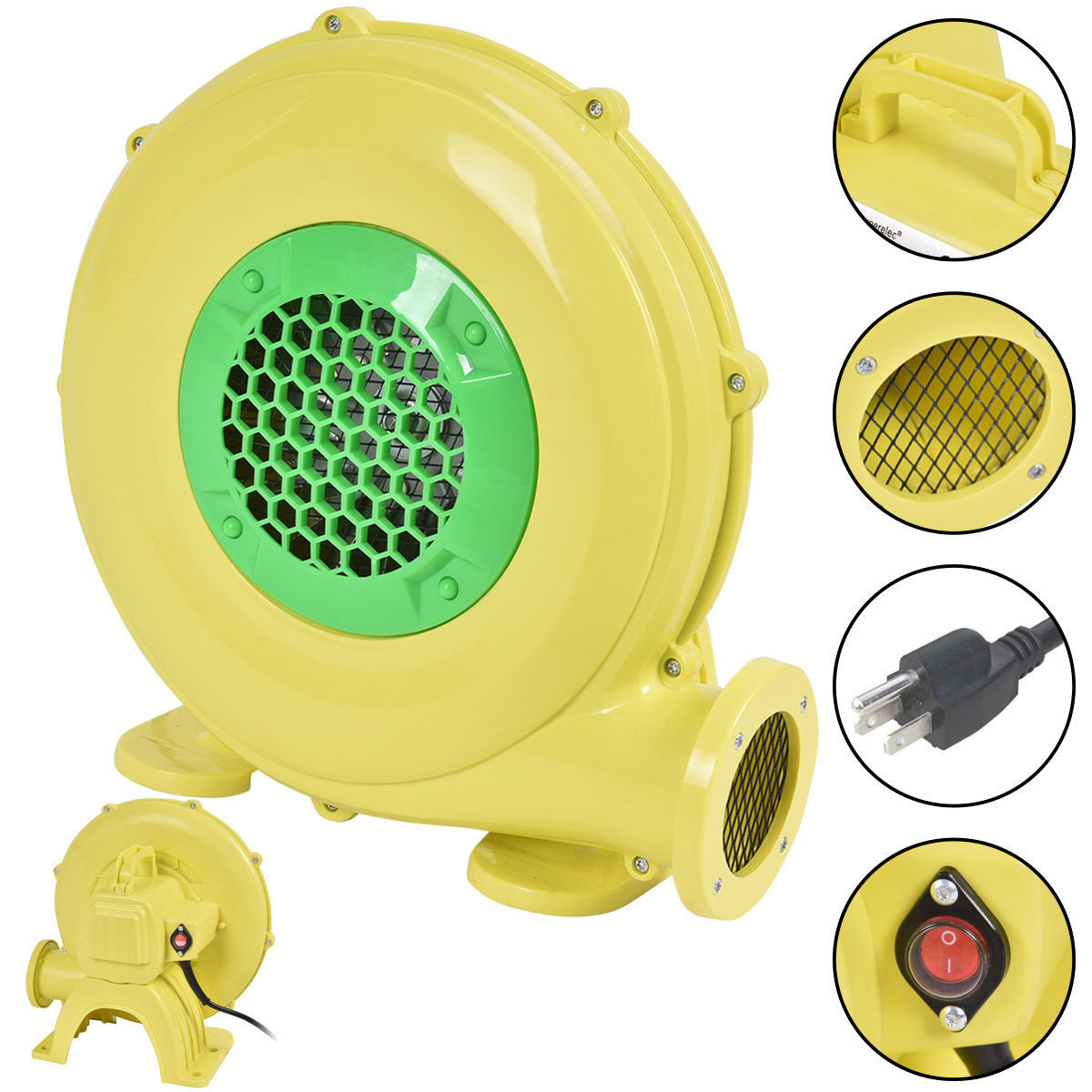 Costway Air Blower Pump Fan 480 Watt 0.64HP For Inflatable Bounce House Bouncy Castle