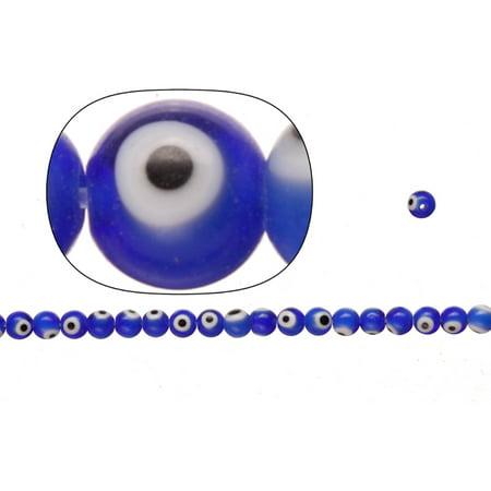 - Glass Beads, Sapphire Blue Base Evil Eye Amulet Design, 6mm Round. Sold per pkg of2x 36Cm StrinGram/pack (2-Pack Value Bundle), SAVE $1