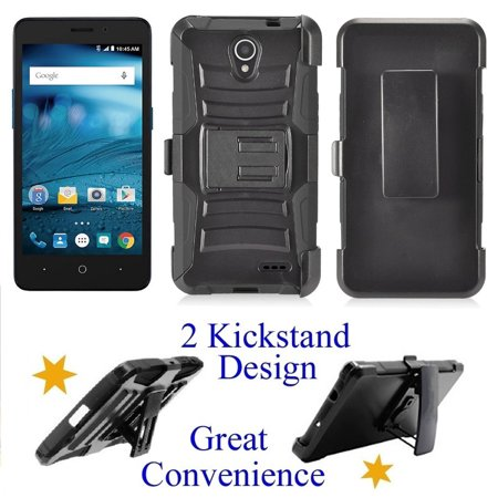 competitive price 4fe07 25a3e for ZTE ZFive 2 LTE zfive2 Z836 Z837 MAVEN 2 Z831 maven2 Case Phone Case  Clip Holster 2 Kick Stands Hybrid Shock Bumper Cover Black