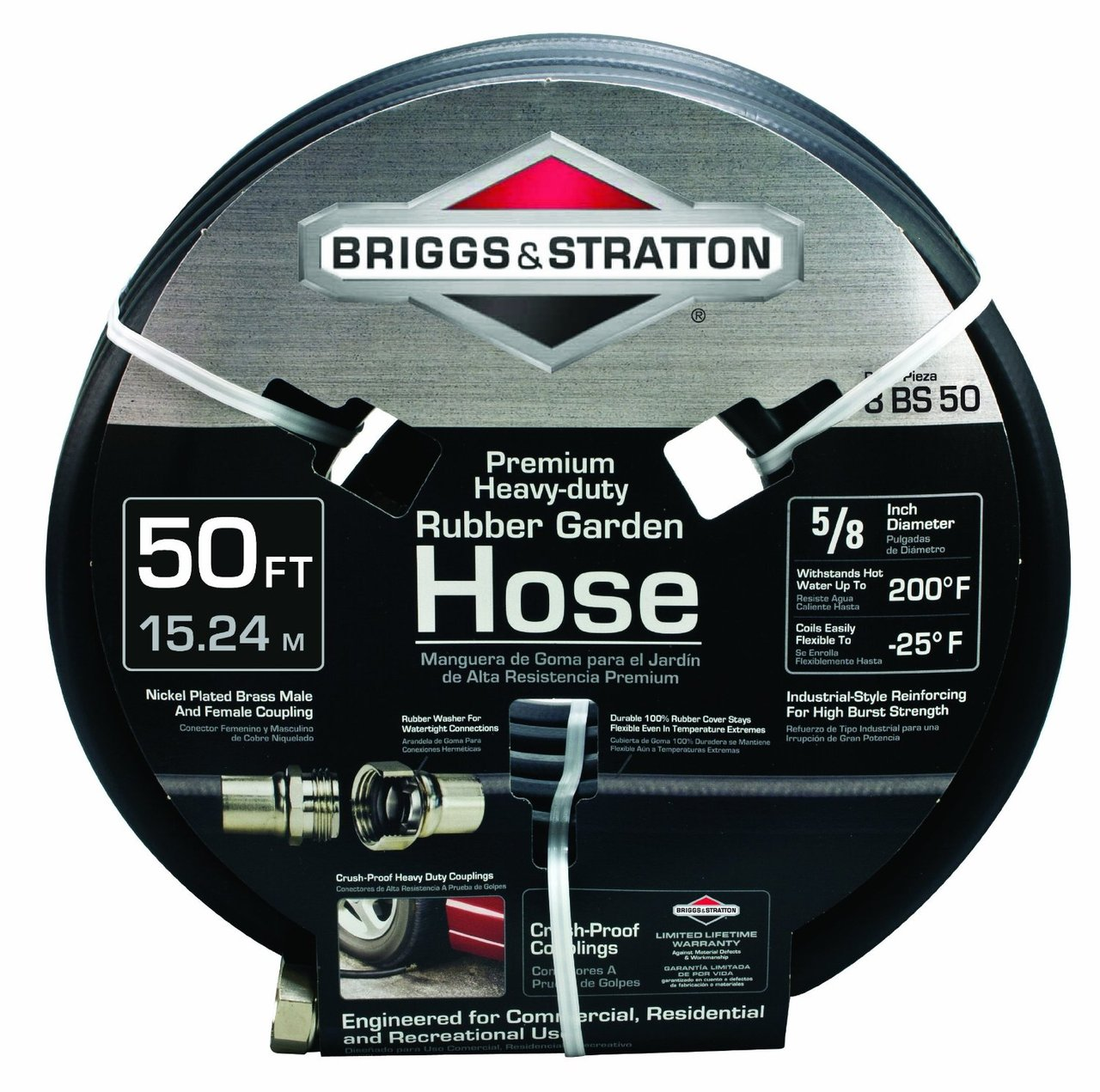 Briggs & Stratton 8BS50 50-Foot Premium Heavy-Duty Rubber Garden Hose by Briggs and Stratton