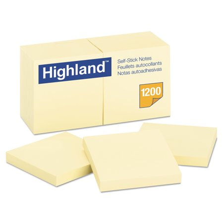 Highland Self-Stick Notes, 3 x 3, Yellow, 100-Sheet, 12/Pack -MMM6549YW