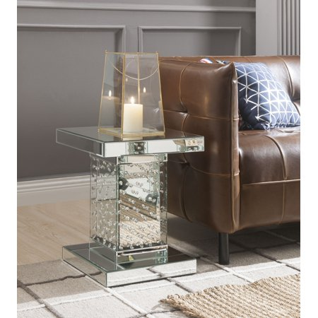 ACME Nysa Square End Table in Mirrored and Faux Crystals ()