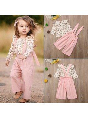 Toddler Kid Baby Girl Floral Ruffled Top T-Shirt Bib Pants