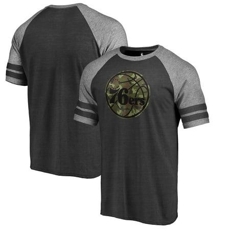 Philadelphia 76ers Fanatics Branded Prestige Camo 2-Stripe Raglan T-Shirt - Black