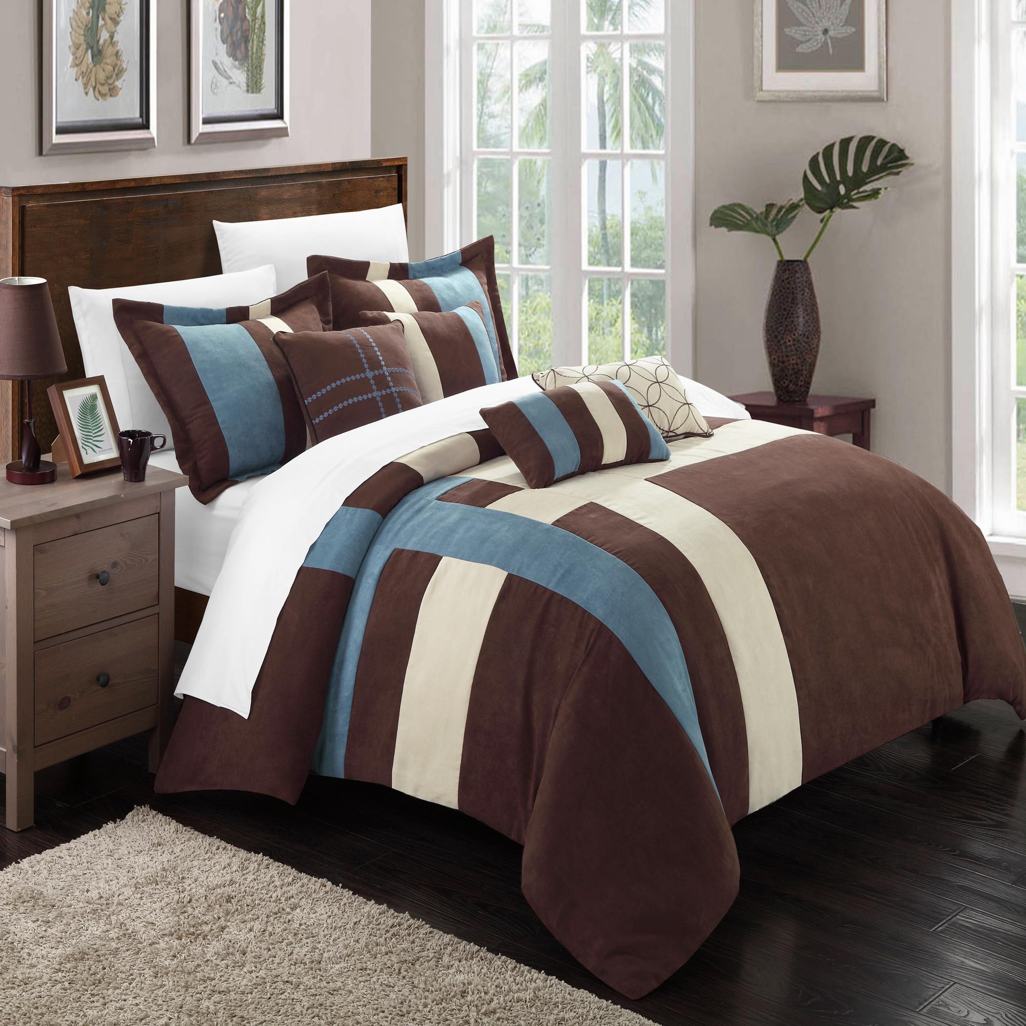 Regina Microsuede Blue, Brown & Cream 7 Piece Comforter B...