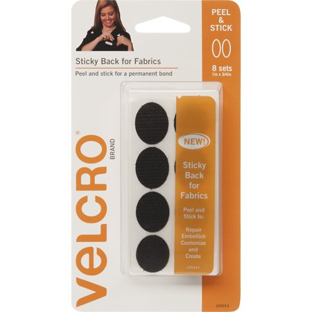 "VELCRO Brand Sticky Back For Fabric 1"" x 3/4"" Black Ovals, 8 Count"