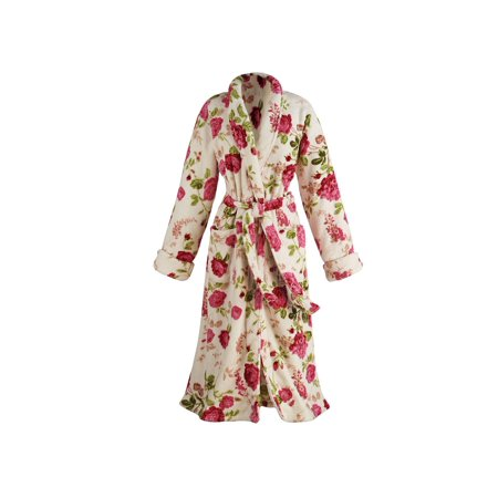 matching in colour excellent quality Sales promotion Women's Floral Print Long Cozy Wrap Bathrobe - Shawl Collar Patch Pockets
