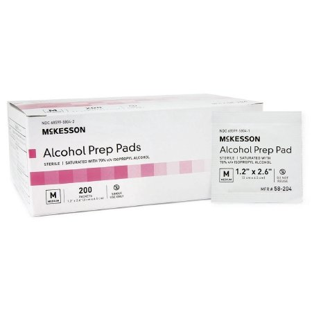 McKesson Alcohol Prep Pads - Item Number 58-204EA - 1 Each / Each