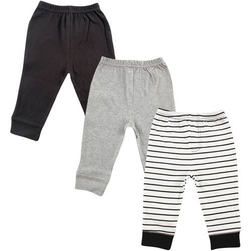 Luvable Friends Newborn Baby Boys Tapered Ankle 3 Pack Pant - Black Stripe