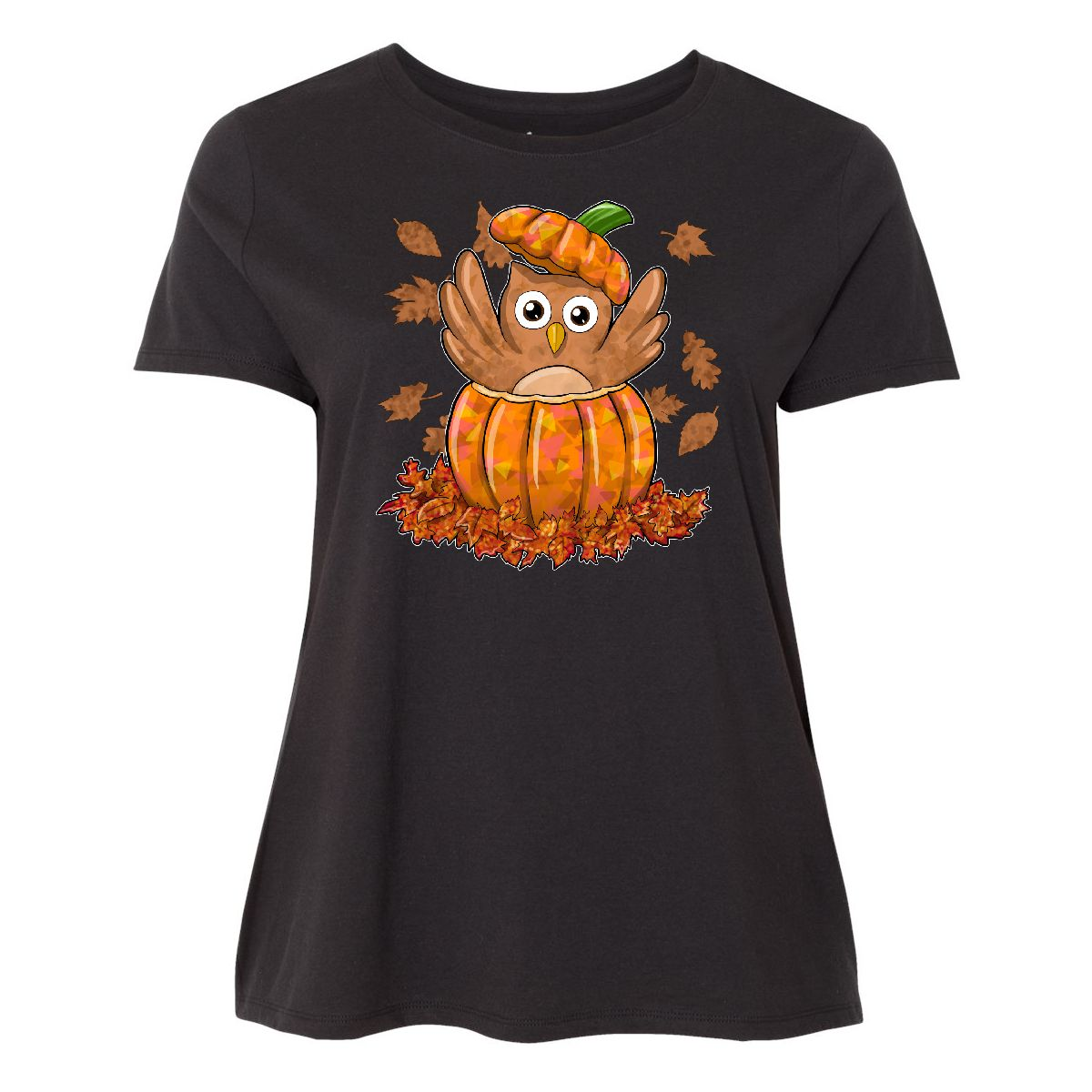 Inktastic Owl In A Pumpkin- Cute For Halloween And Women's Plus Size T-Shirt Fun