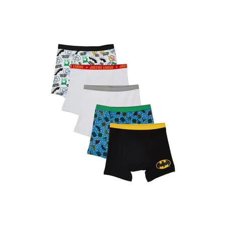 Justice League, Boys Underwear, 5 Pack Boxer Briefs (Little Boys & Big Boys) ()