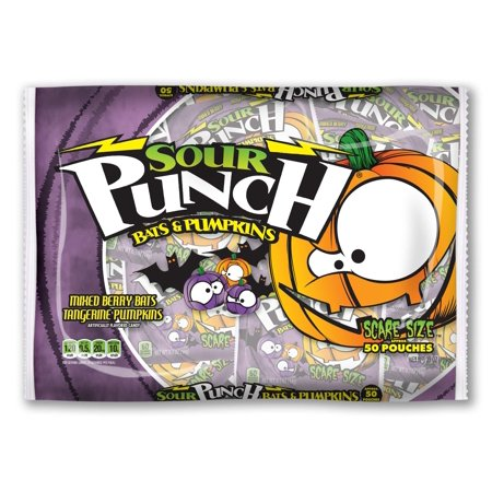 Sour Punch Bats and Pumpkins Halloween Candy, Bag of 50 Snack Size Pouches](Vodka Punch Halloween)