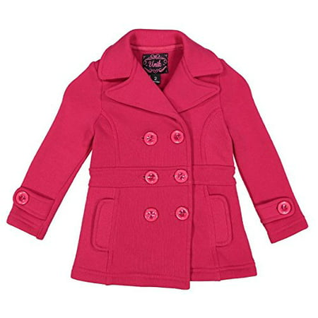 unik Girl Fleece Coat with Buttons, Fuchsia Size - Girls Pink Jackets