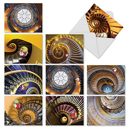 'M3290 STEPPIN' UP SANTA' 10 Assorted All Occasions Note Cards Featuring A Whimsical Cartoon Santa Climbing Spiral Staricases with Envelopes by The Best Card (Best Climbing Packs 2019)