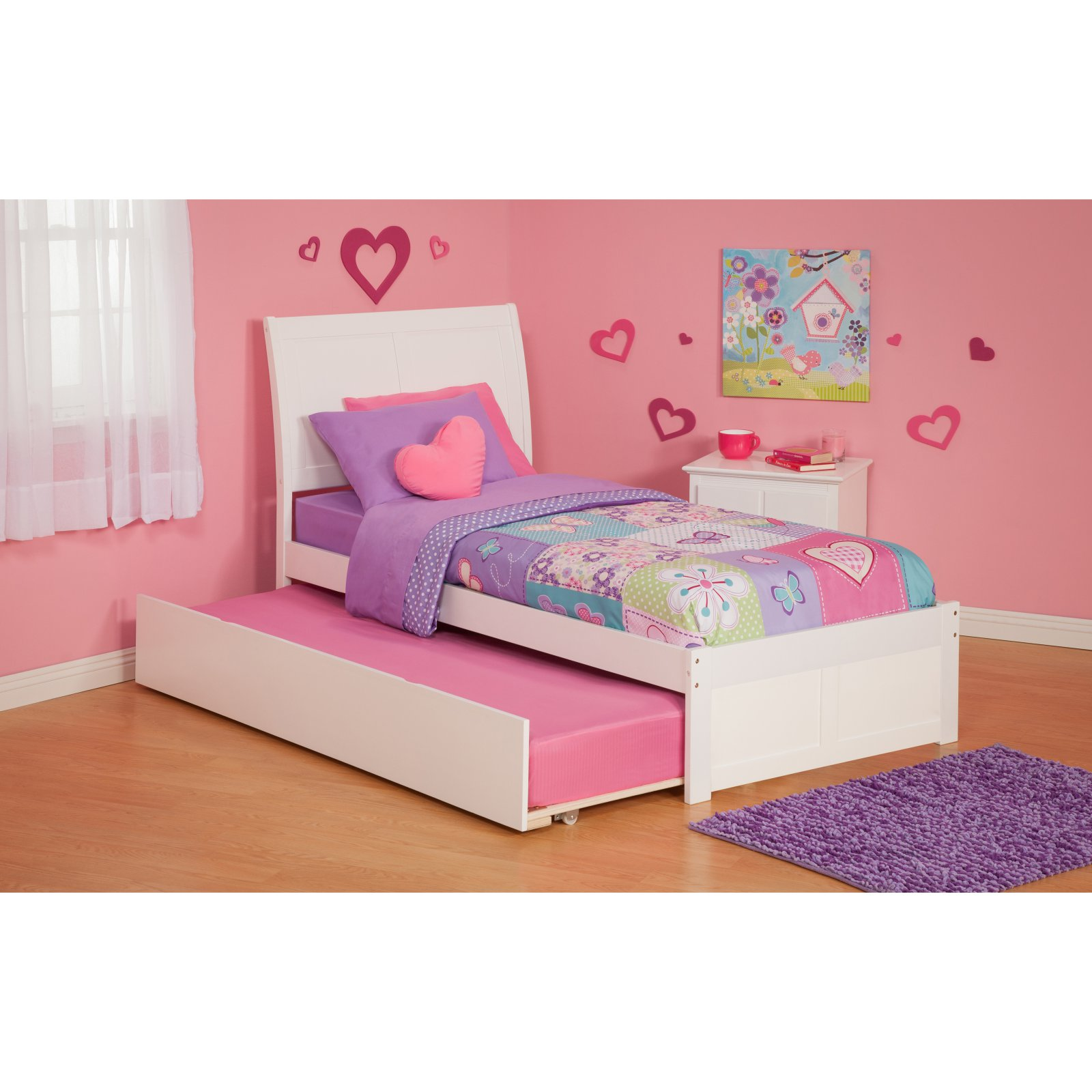 Portland Platform Bed with Flat Panel Foot Board and Twin Size Urban Trundle Bed, Multiple Colors, Multiple Sizes