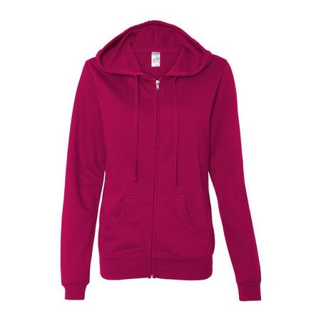 Independent Trading SS650Z Juniors' Lightweight Full-Zip Hooded Sweatshirt