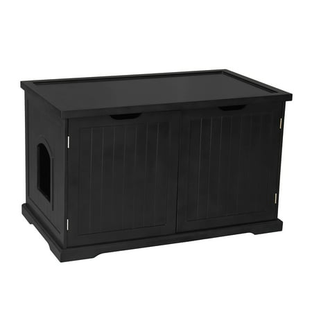 Merry Products Decorative Bench with Enclosed Cat Litter Washroom Box, Black Merry Products Cat Washroom