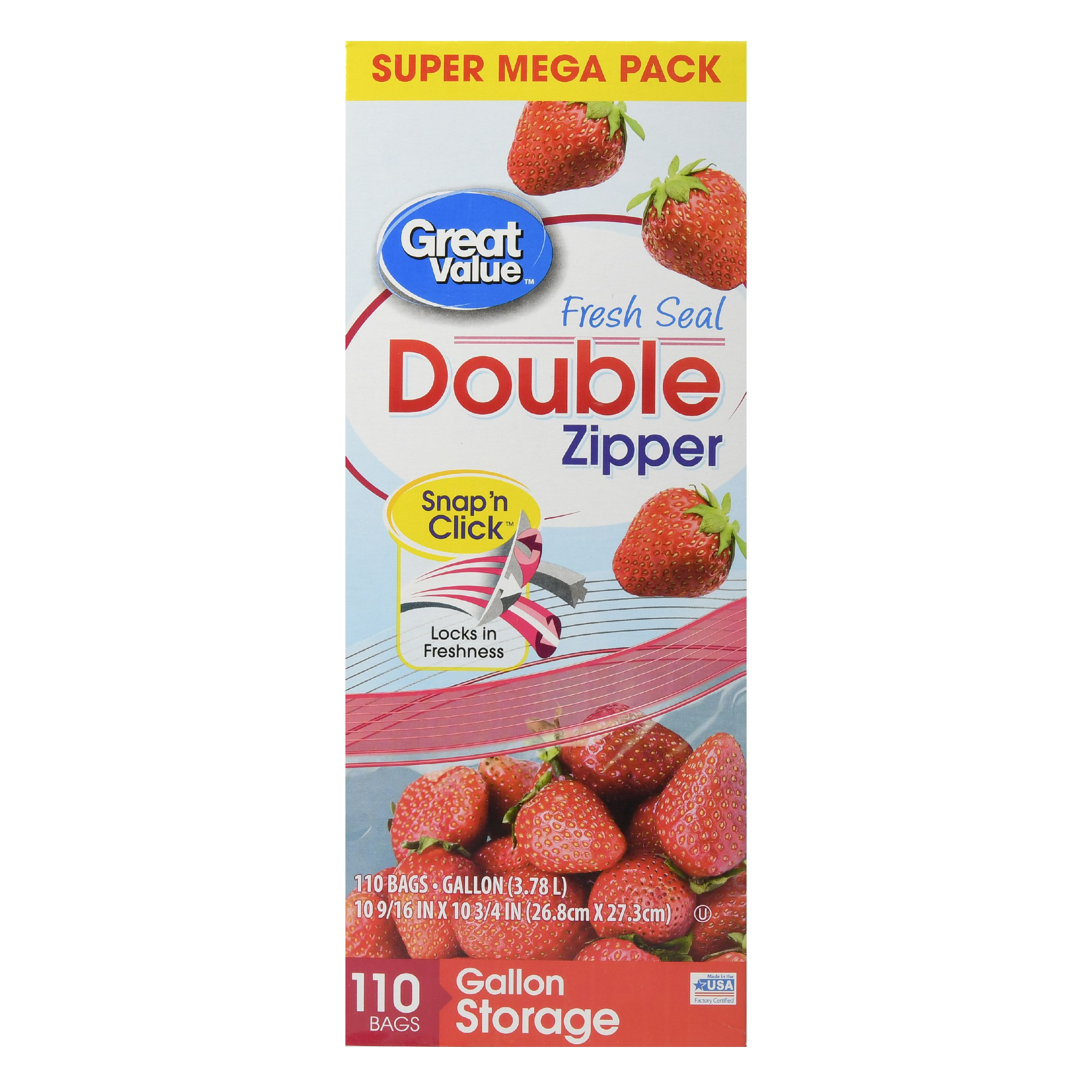 Great Value Double Zipper Bags, Super Mega Pack, Gallon, 110 Count