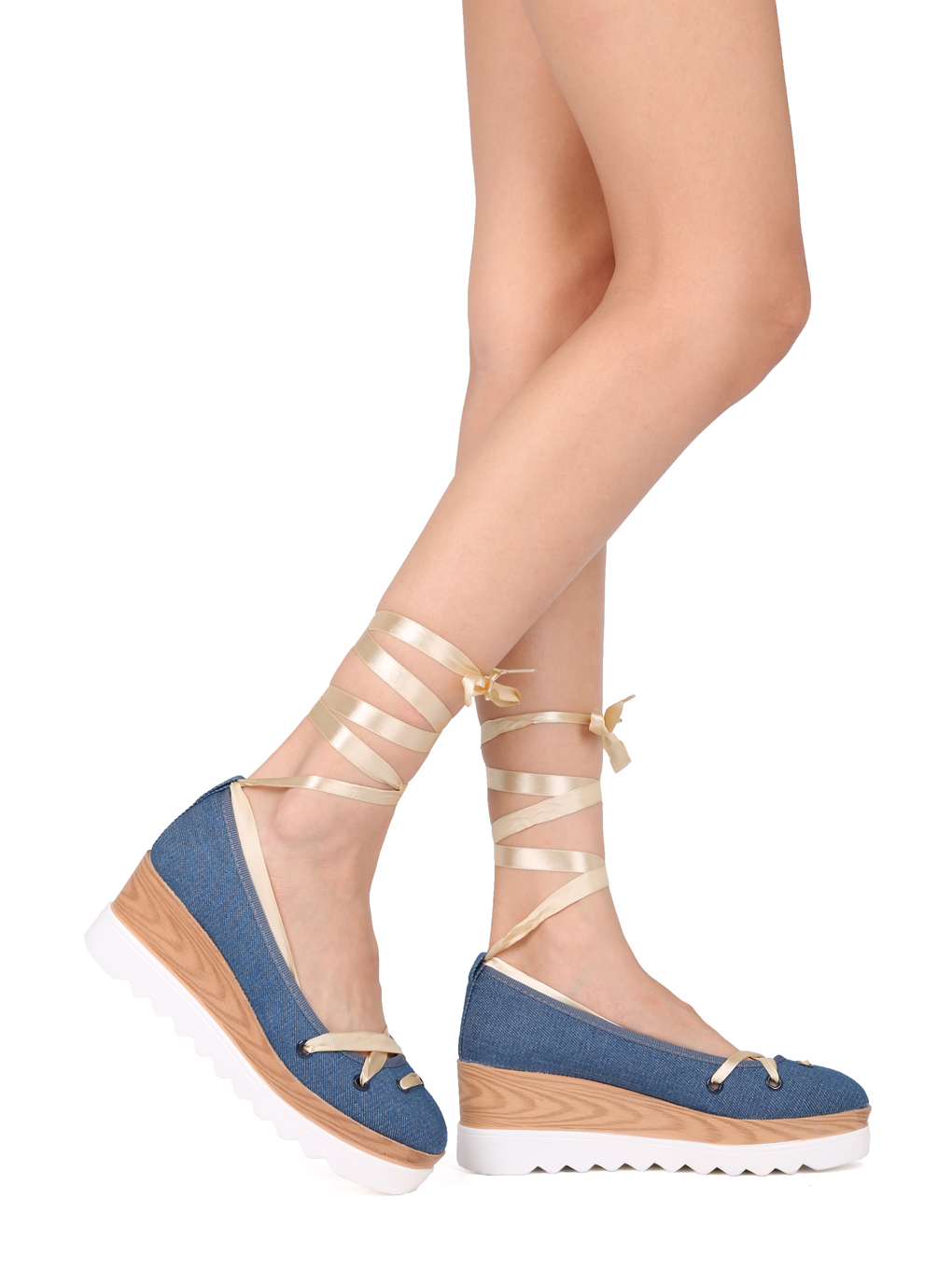 65cb51499f9 Alriscr - Women Denim Lace Up Ankle Wrap Double Stacked Wedge Heel - IA34  By Cape Robbin - Walmart.com