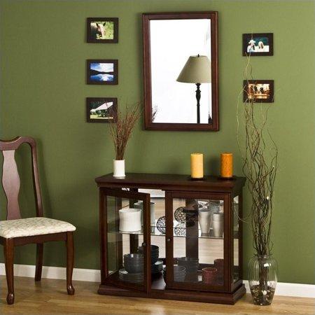 Kingfisher Lane Mahogany Curio Console Sofa Table with Glass Doors ()