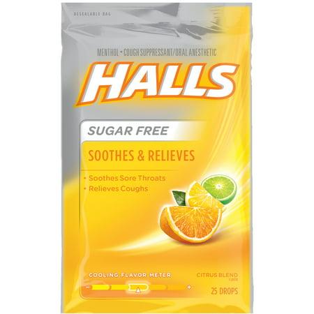 Halls Sugar Free Cough Suppressant Drops  Citrus Blend  25 Ct