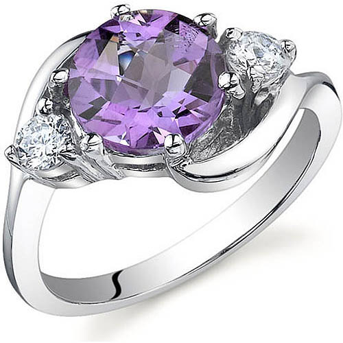 Oravo 1.75 Carat T.G.W. 3-Stone Amethyst Rhodium over Sterling Silver Ring