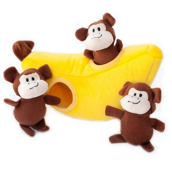 ZippyPaws Burrow Squeaky Hide and Seek Plush Dog Toy, Monkey n Banana