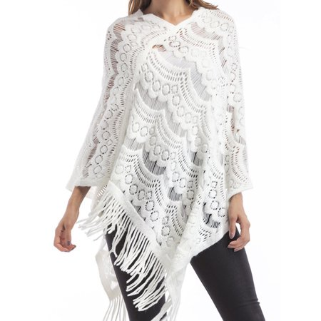 Women Knit Batwing Top Tassel Shawl Poncho Cape Tassel Cloak Cardigan Coat Sweater Jacket Outwear Hollow out