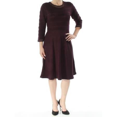 JESSICA HOWARD Womens Maroon Long Sleeve Jewel Neck Knee Length Fit + Flare Dress  Size: S - Jessica Rabbit Dress Plus Size