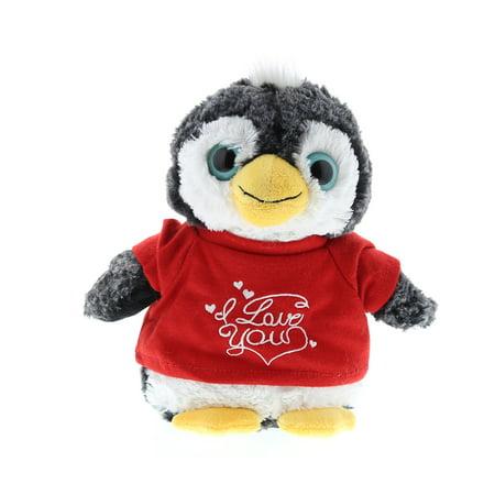Super Soft Plush Dollibu Penguin I Love You Shirt Valentines Plush ()