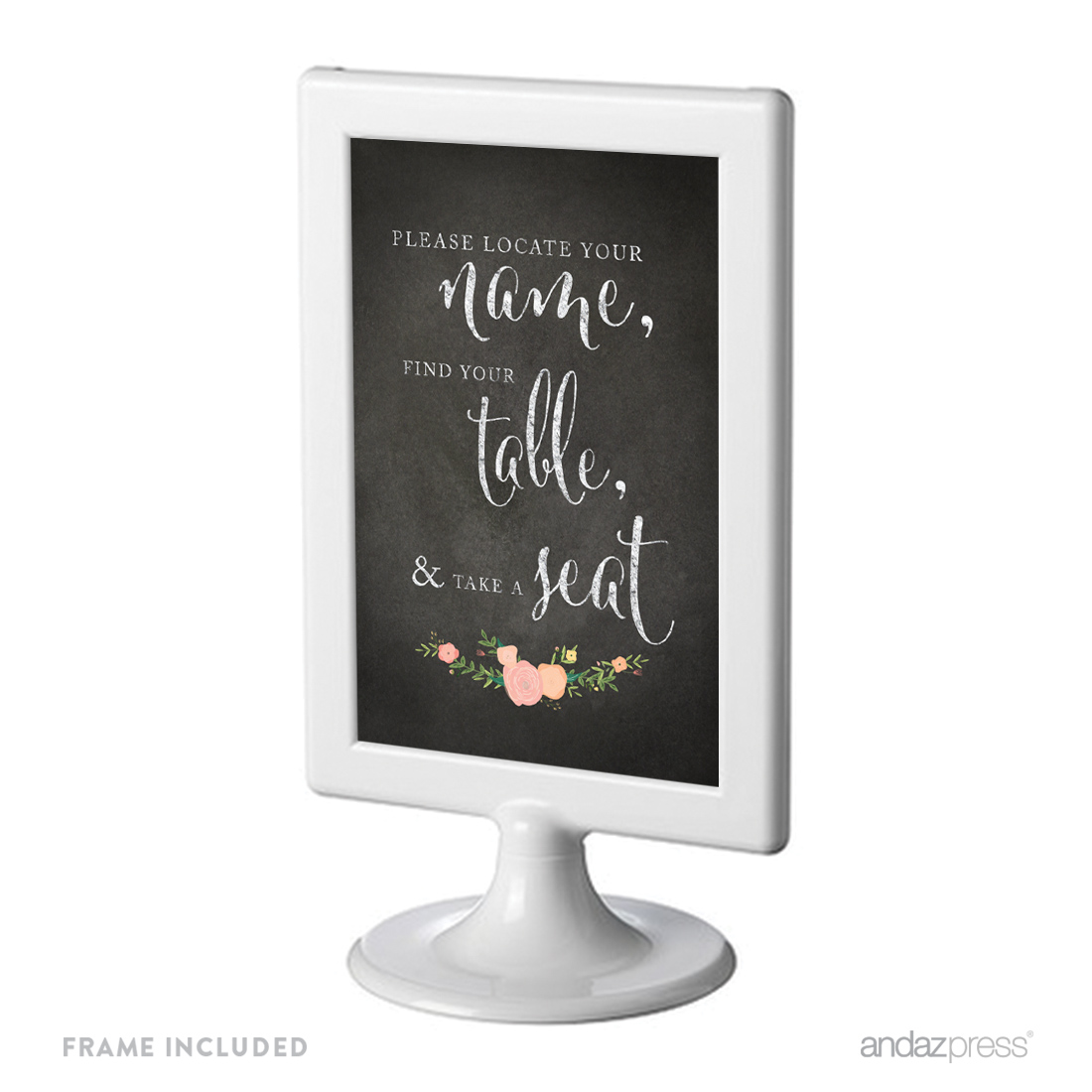 Locate Your Name, Find Table, Take Seat Framed Chalkboard & Floral Roses Wedding Party Signs