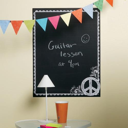 """Wallies Peel & Stick Peace Chalkboard, 19"""" x 25"""""""