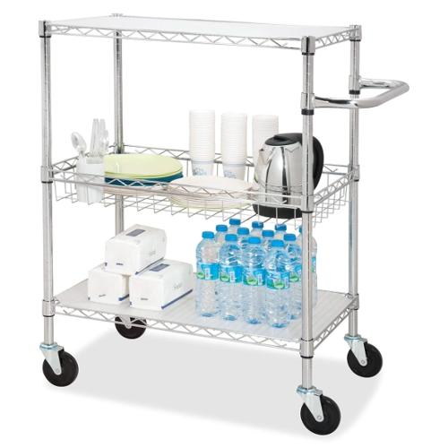 "Lorell 3-Tier Rolling Carts - 4 Casters - Steel - 18"" Width x 30"" Depth x 40"" Height - Chrome"
