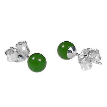 Trustmark Sterling Silver 4mm Natural Nephrite Green Jade Ball Stud Earrings