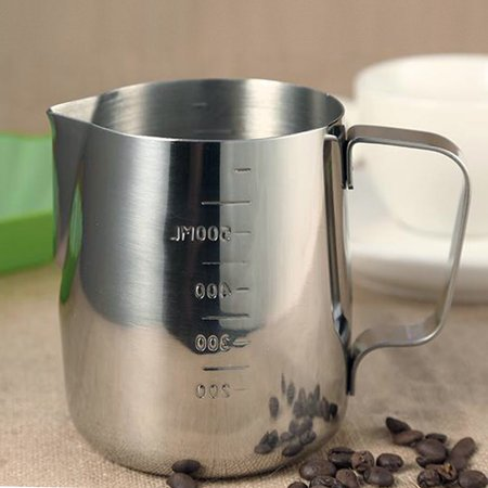 OTVIAP Milk Frothing Pitcher 600ml Stainless Steel Coffee Pitcher Mugs with Measurement Marking for Home, Coffee Shop, Hotel, Bar (Used Stainless Steel Milk Tanks For Sale)