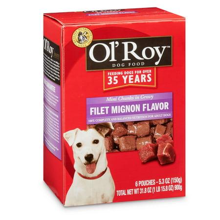 (3 Pack) Ol' Roy Filet Mignon Flavor Mini Chunks in Gravy Wet Dog Food, 5.3 oz