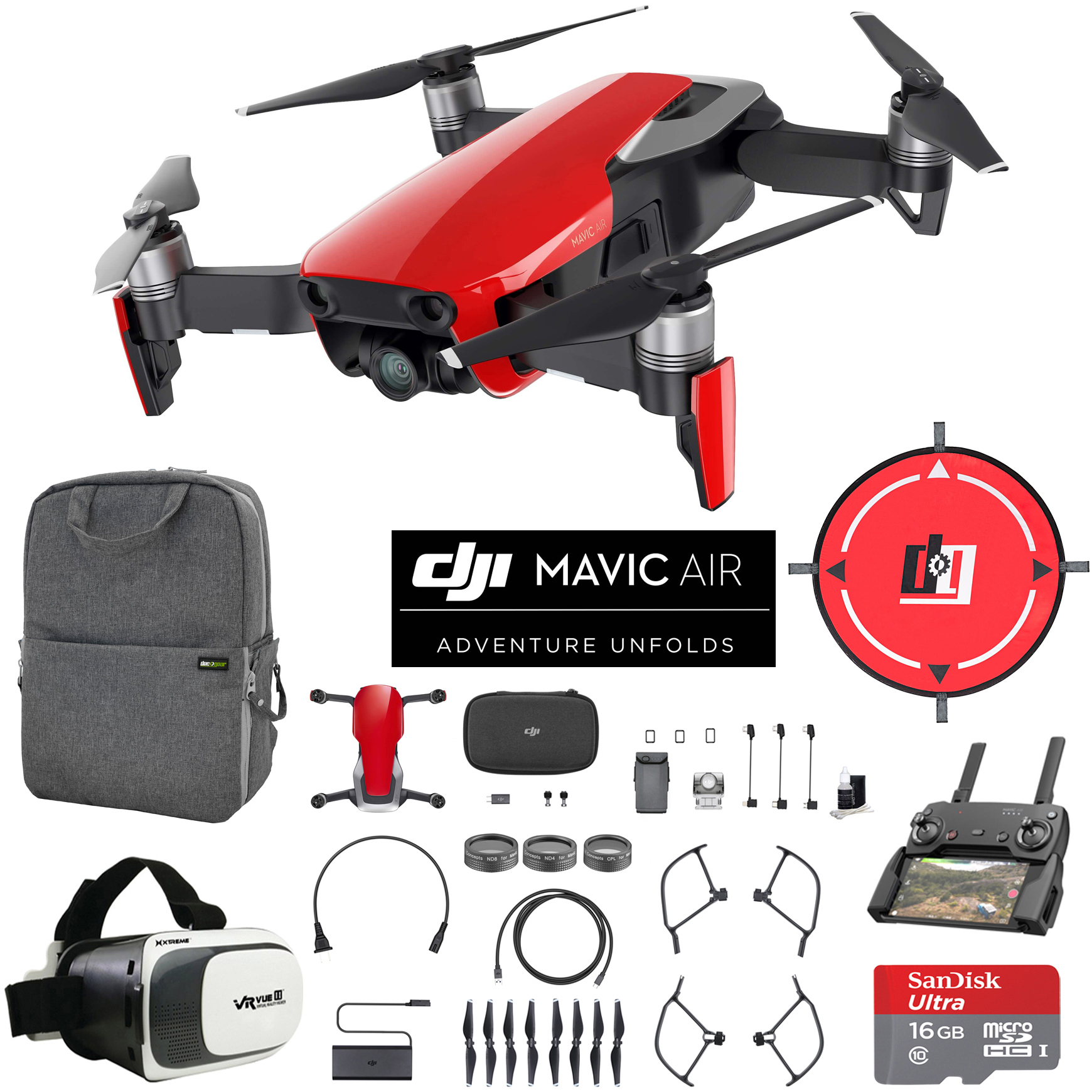 DJI Mavic Air (Flame Red) Drone Combo 4K Wi-Fi Quadcopter with Remote Controller Mobile Go Bundle with Backpack VR Goggles Landing Pad 16GB microSDHC Card and Filter Kit
