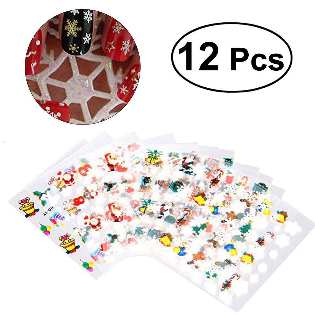 12 Sheets Snowflake Nail Art Sticker Christmas Nail Tip Decal Manicure Makeup
