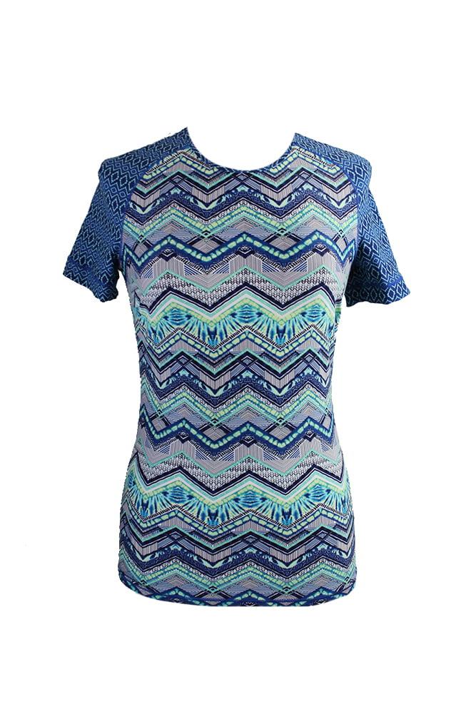 Profile Blush By Gottex Blue African Printed Rash Guard Tee S by Blush Swimwear